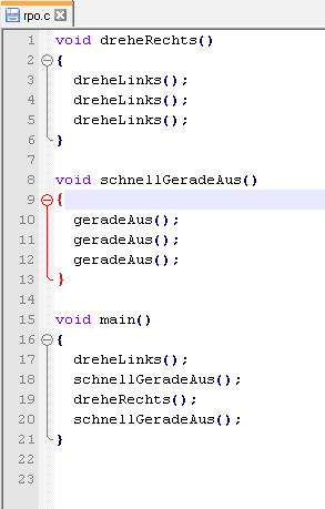 Hier wird ein Codeausschnitt aus der Programmiersprache C gezeigt.