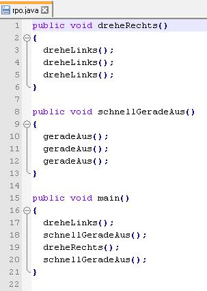 Hier wird ein Codeausschnitt aus der Programmiersprache Java gezeigt.