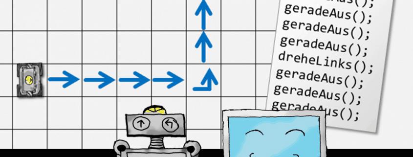 Robo und Compi helfen dir beim Programmieren lernen