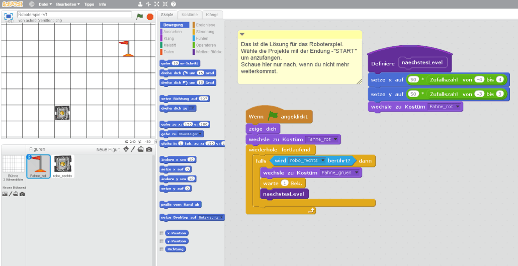 Ein Roboterspiel im Scratch Editor