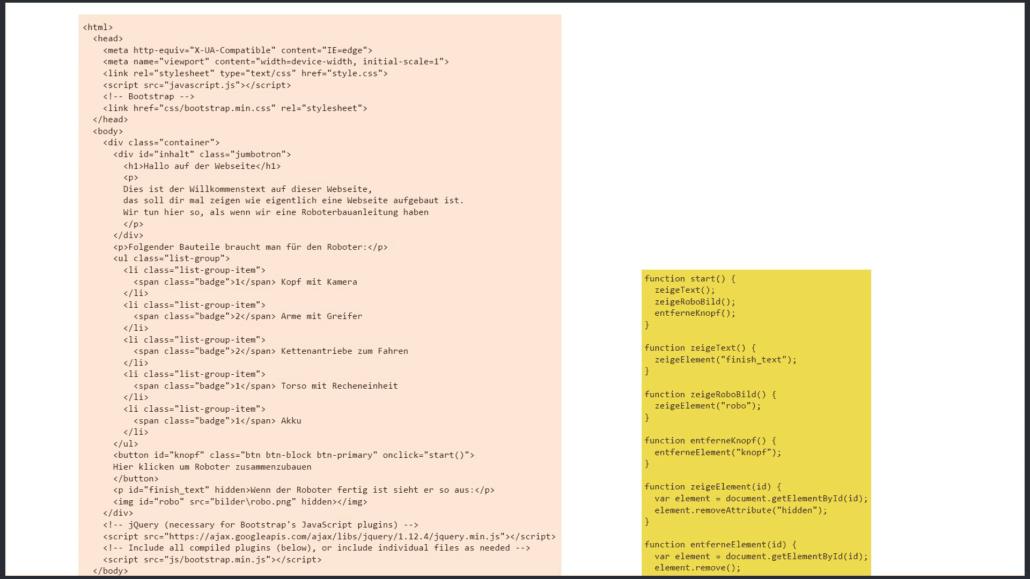 HTML Code für Javascript Beispiel